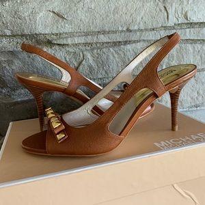 New Michael Kors Livvy Sandal Heels Sz 6.5 Luggage